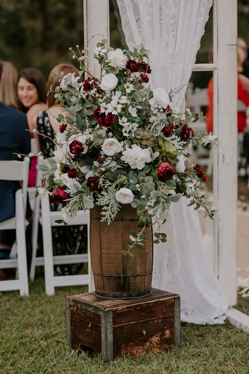 Large floral arrangements for Kirstin and Julian's ceremony