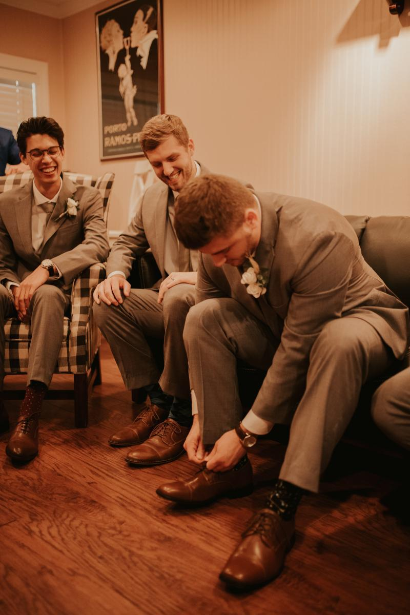 Connor getting ready with his groomsmen