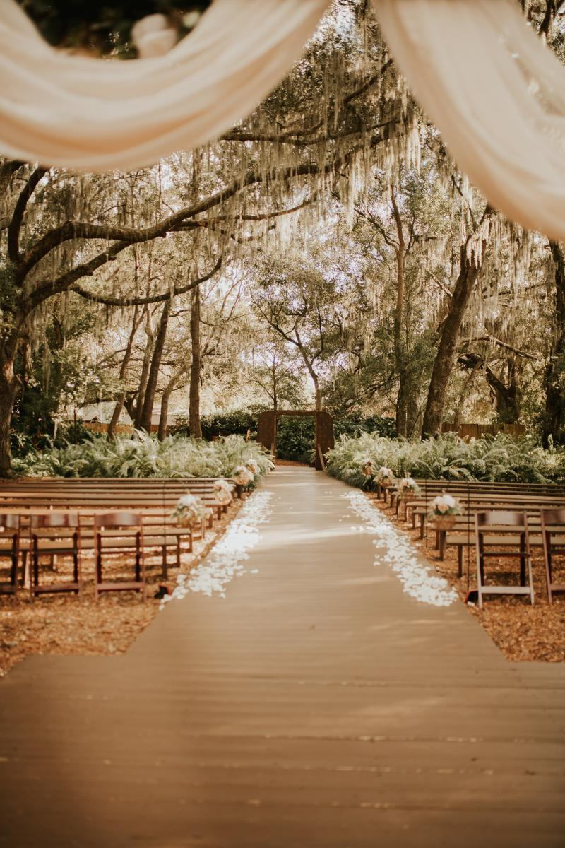 View of the Enchanted Forest from the ceremony arch