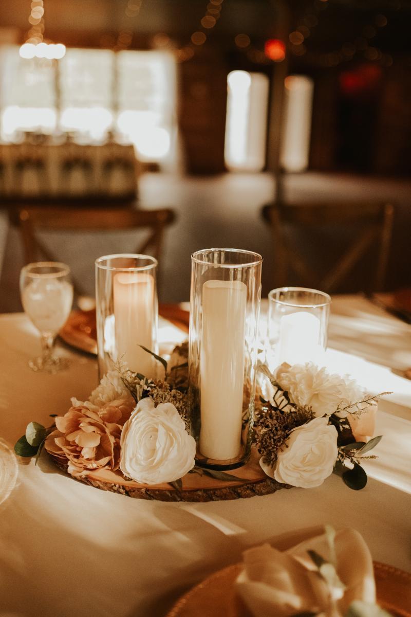 Bohemian candlelit wedding centerpiece