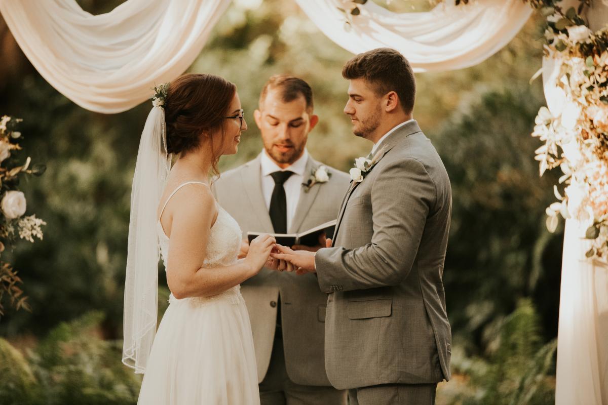 Bohemian forest wedding ceremony