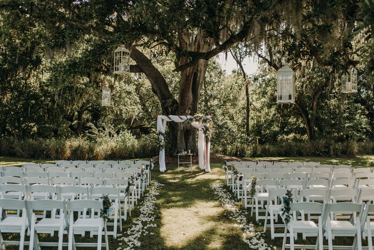 Mitch and Linea's ceremony decor and set up at the Main Oak Tree