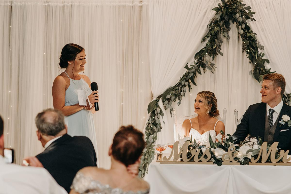 Linea's maid of honor making her speech