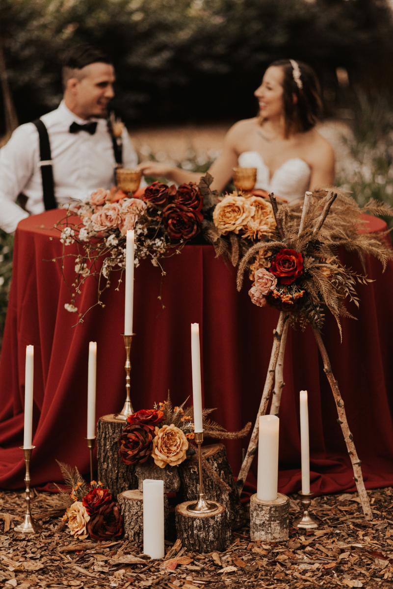 Bohemian wedding sweetheart table