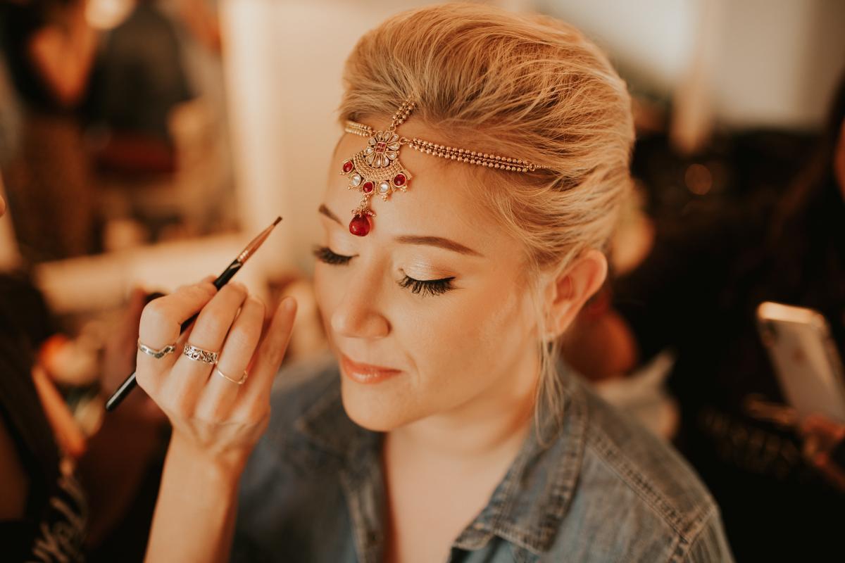 Sadie getting her makeup done