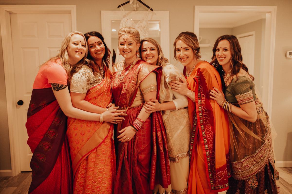 Sadie and her bridesmaids in their sari