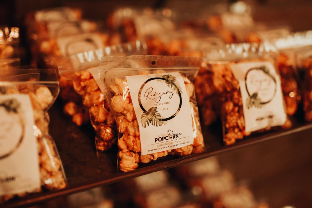 Prepackaged popcorn for guest favors