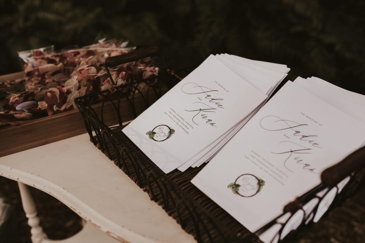 Programs for their Hindu tropical wedding