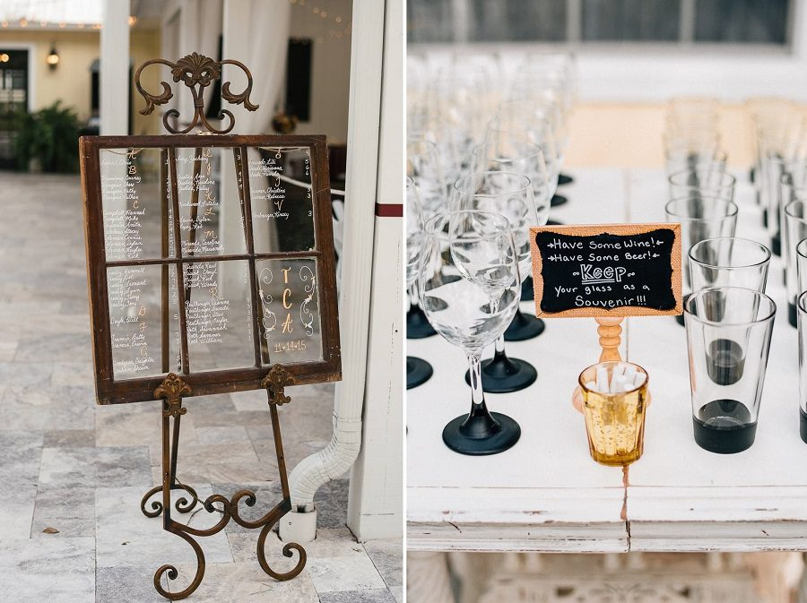 Displayed is a handwritten seating chart and favors for their guests.