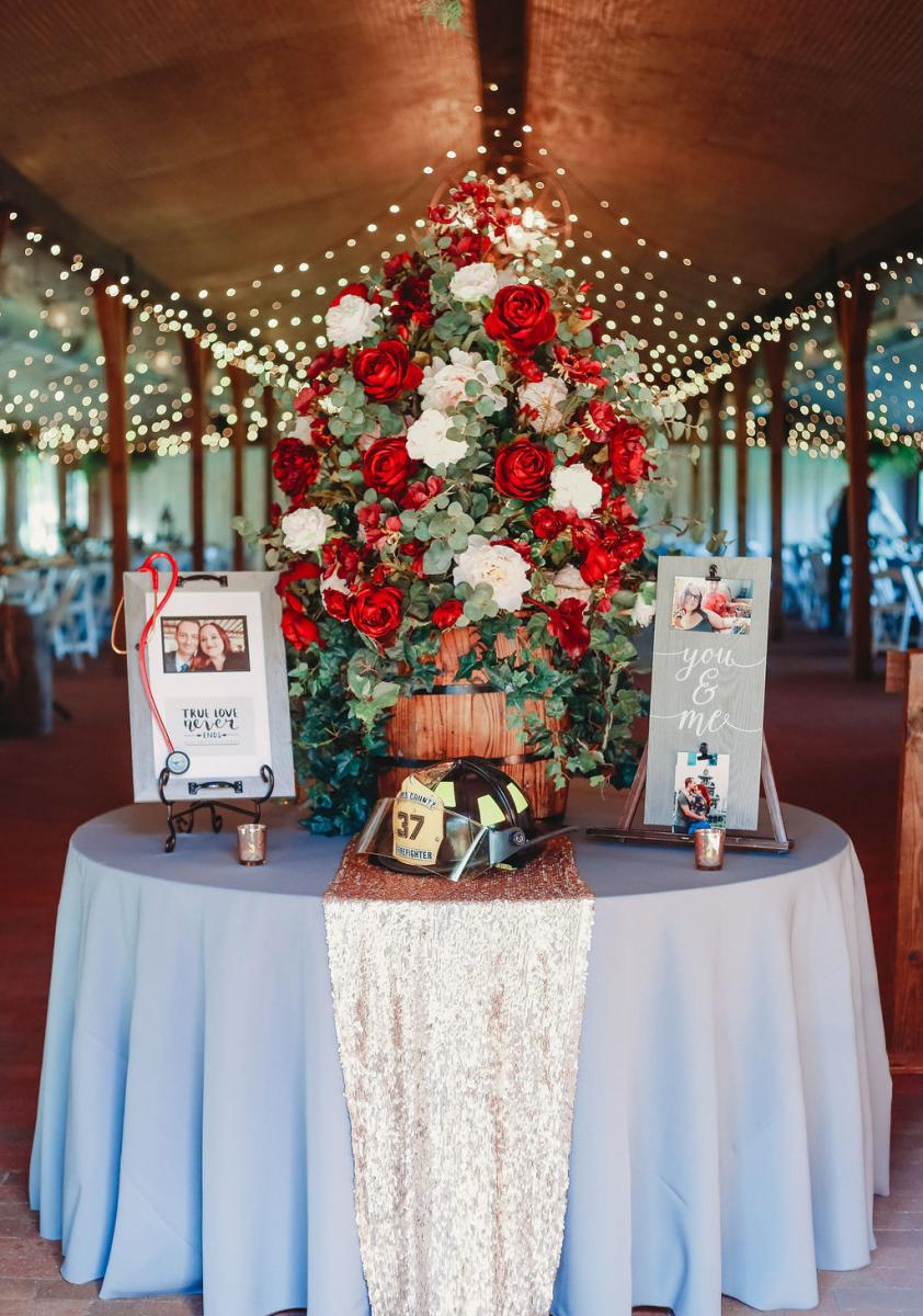 Heather and Jarrod's rustic modern entrance table