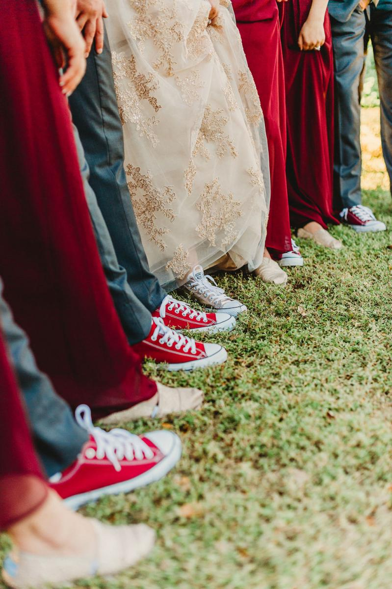 Converse shoes are worn by everyone in the wedding party