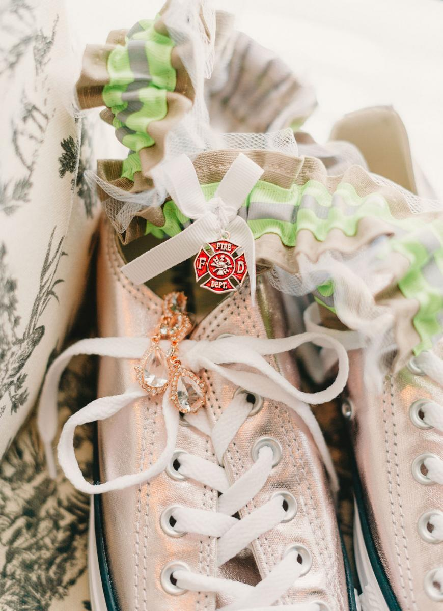 Wedding details to represent Jarrod's job as a firefighter