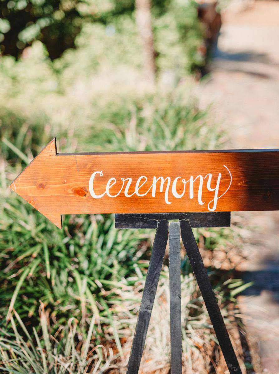 Ceremony sign pointing guests which way they need to go