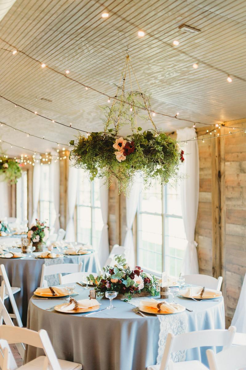 Red and blush rustic modern wedding reception decor