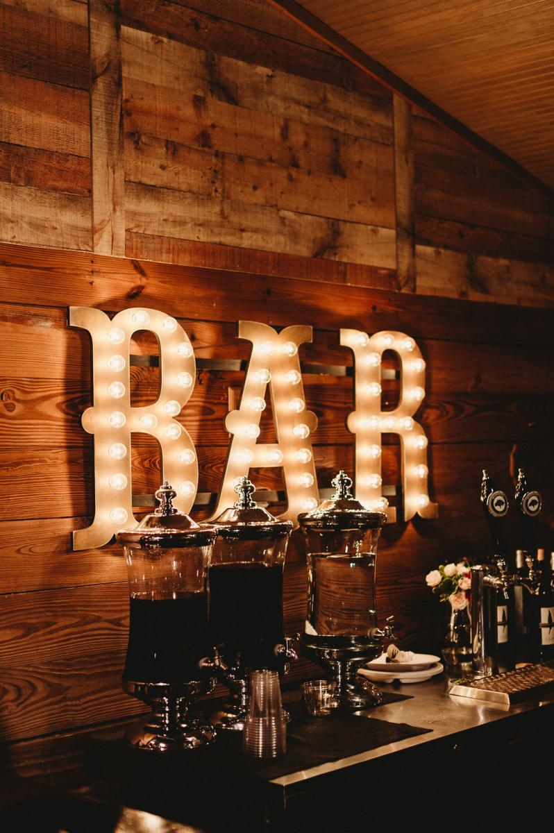 Marquee lit up bar sign
