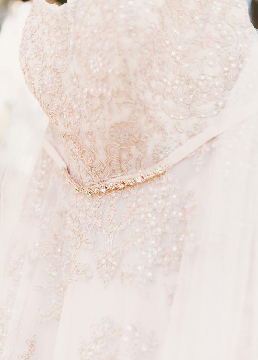 Heather's blush dress with rose gold accents