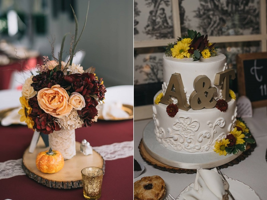 Fall inspired centerpieces and their gorgeous wedding cake.