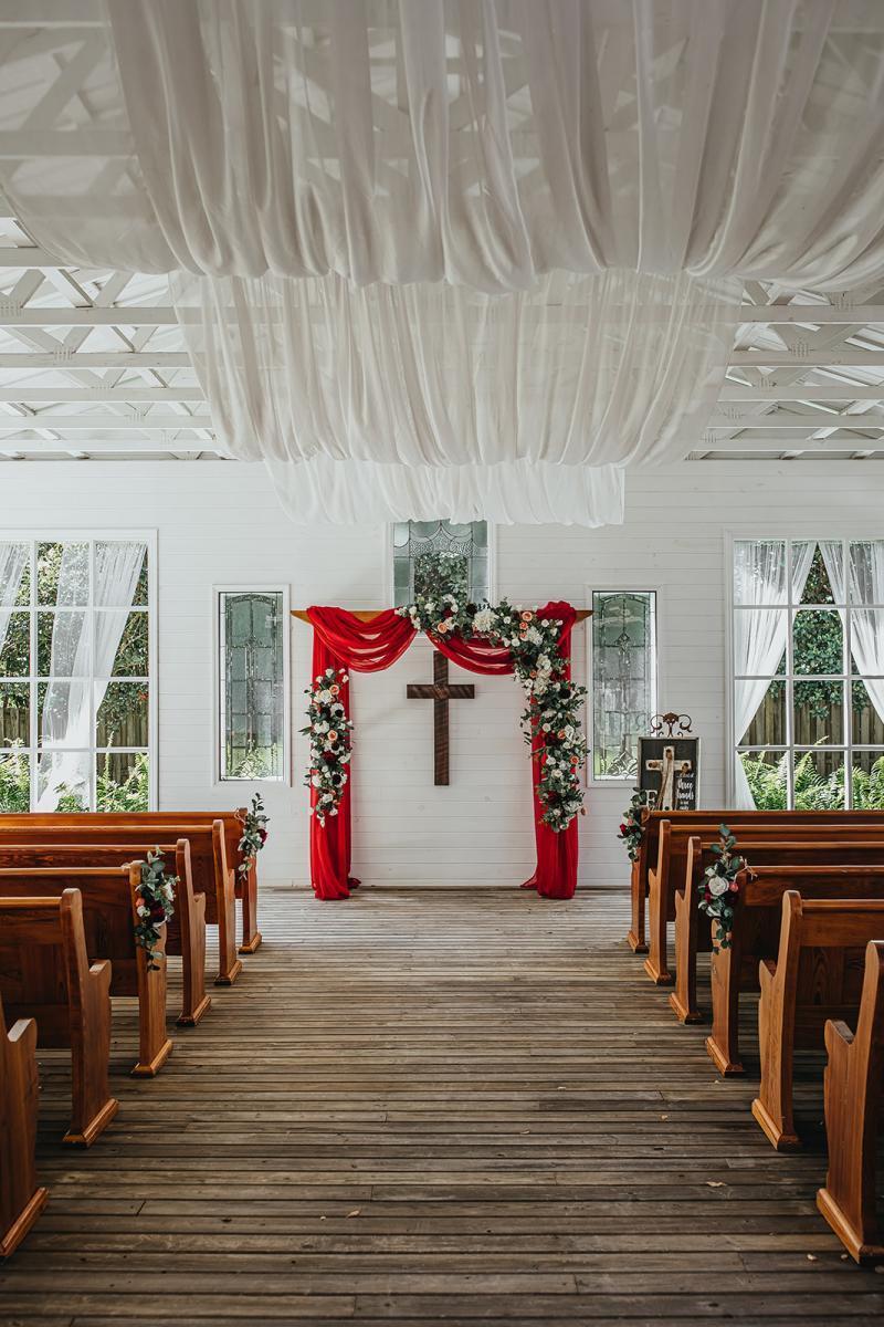 enchanting chapel wedding ceremony decor