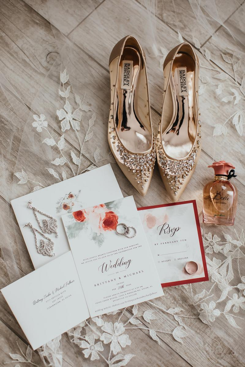 Vintage wedding shoes with enchanted wedding invitations