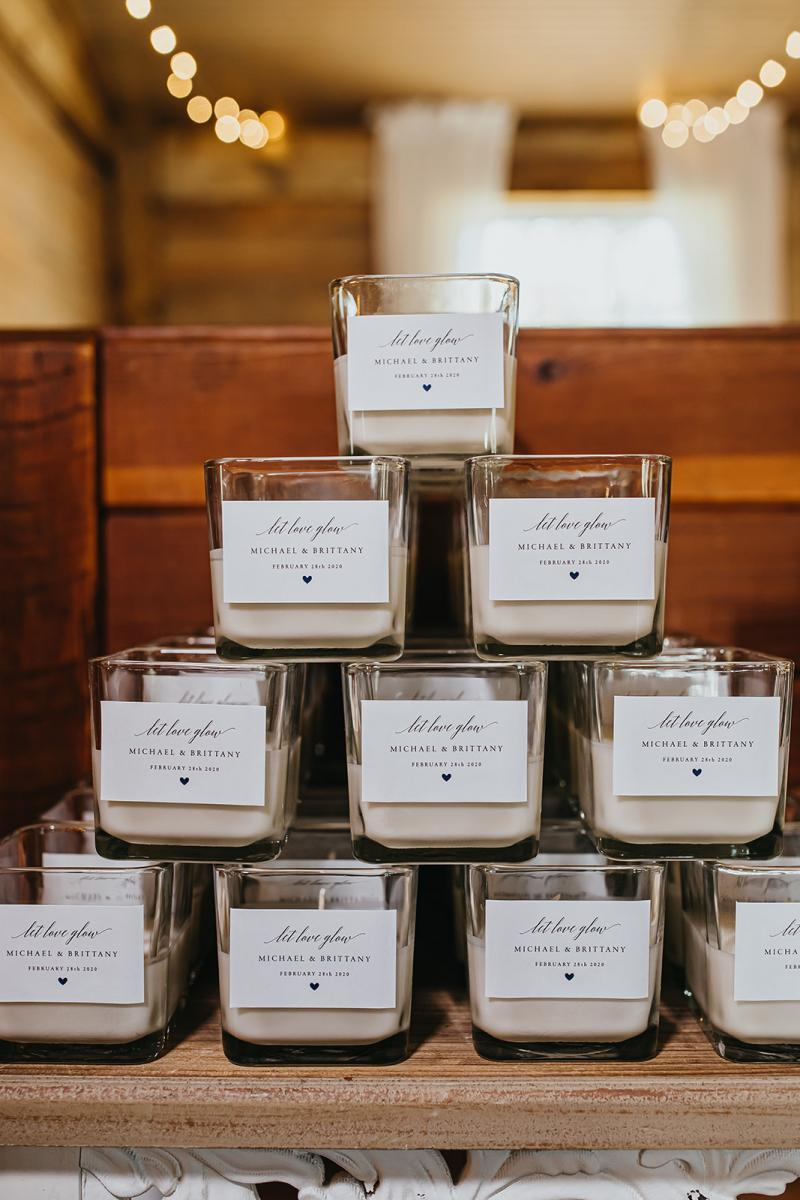 Candles gifted by the couple as wedding favors