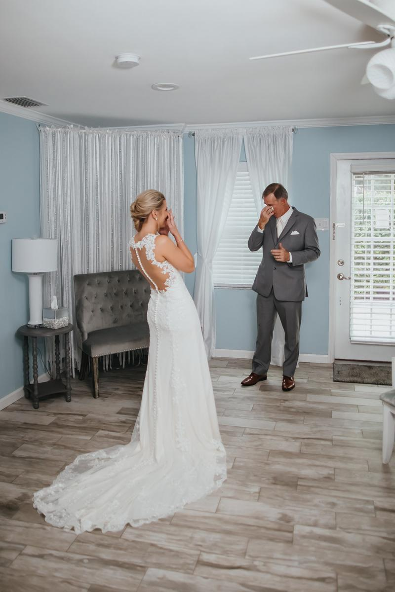 Surprise first look with bride and father of bride
