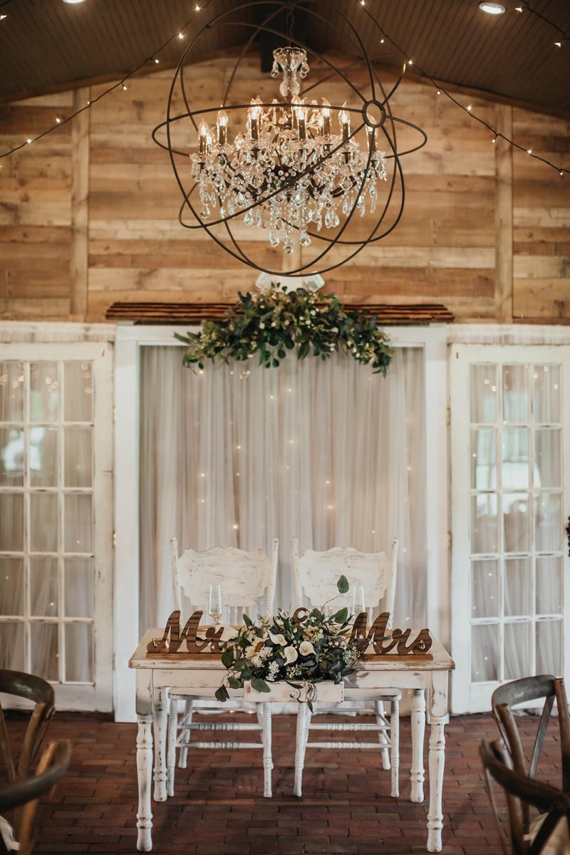 Rustic southern wedding sweetheart table