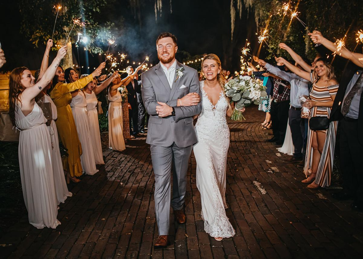 Nick and Bri during their grand sparkler exit