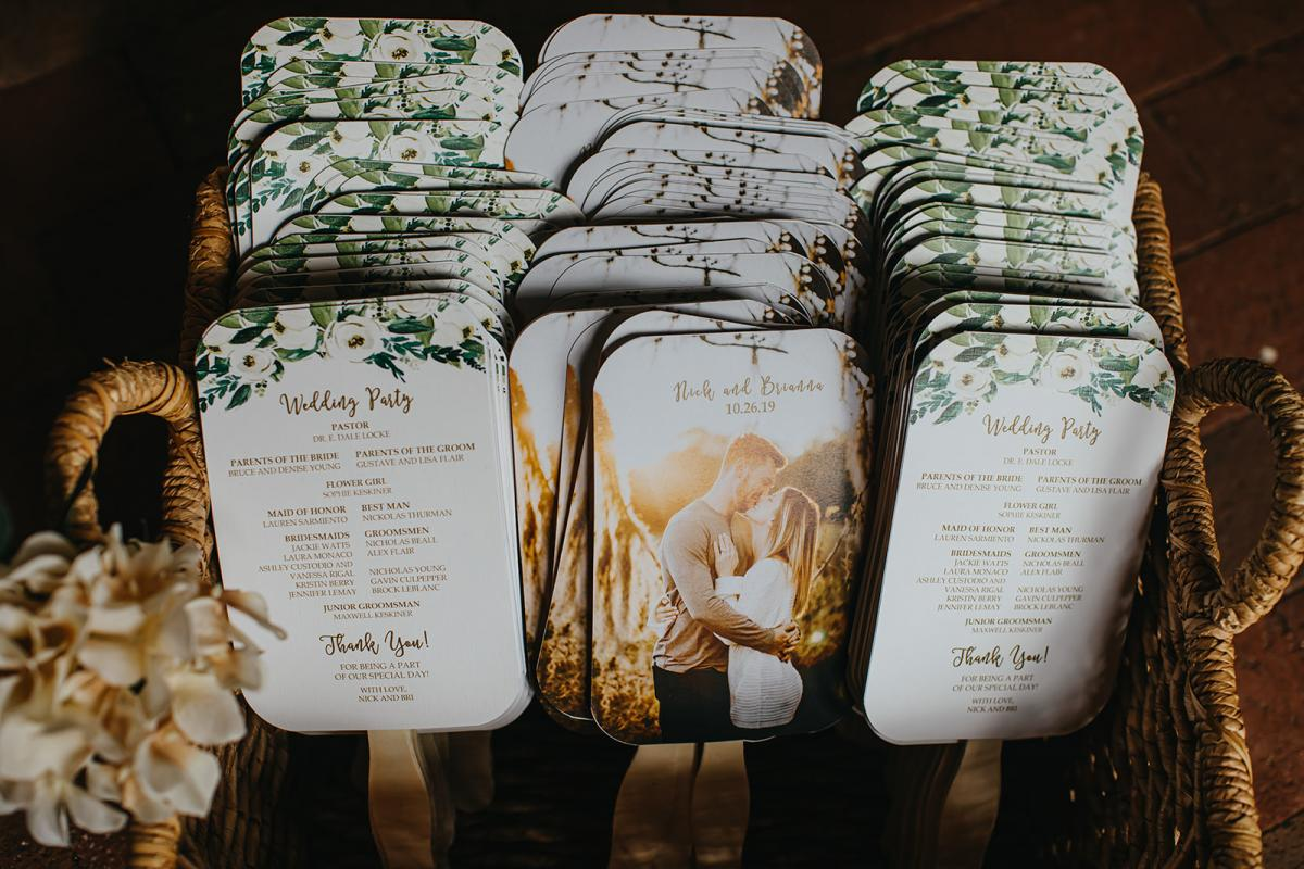 Wedding ceremony programs and fans