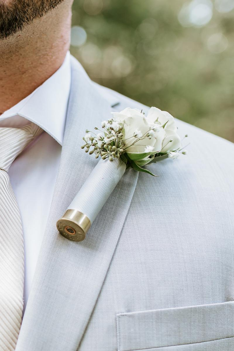 Bullet casing boutonniere for the groom