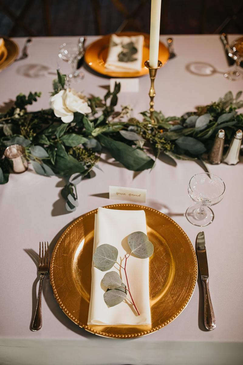 Wedding place setting at reception