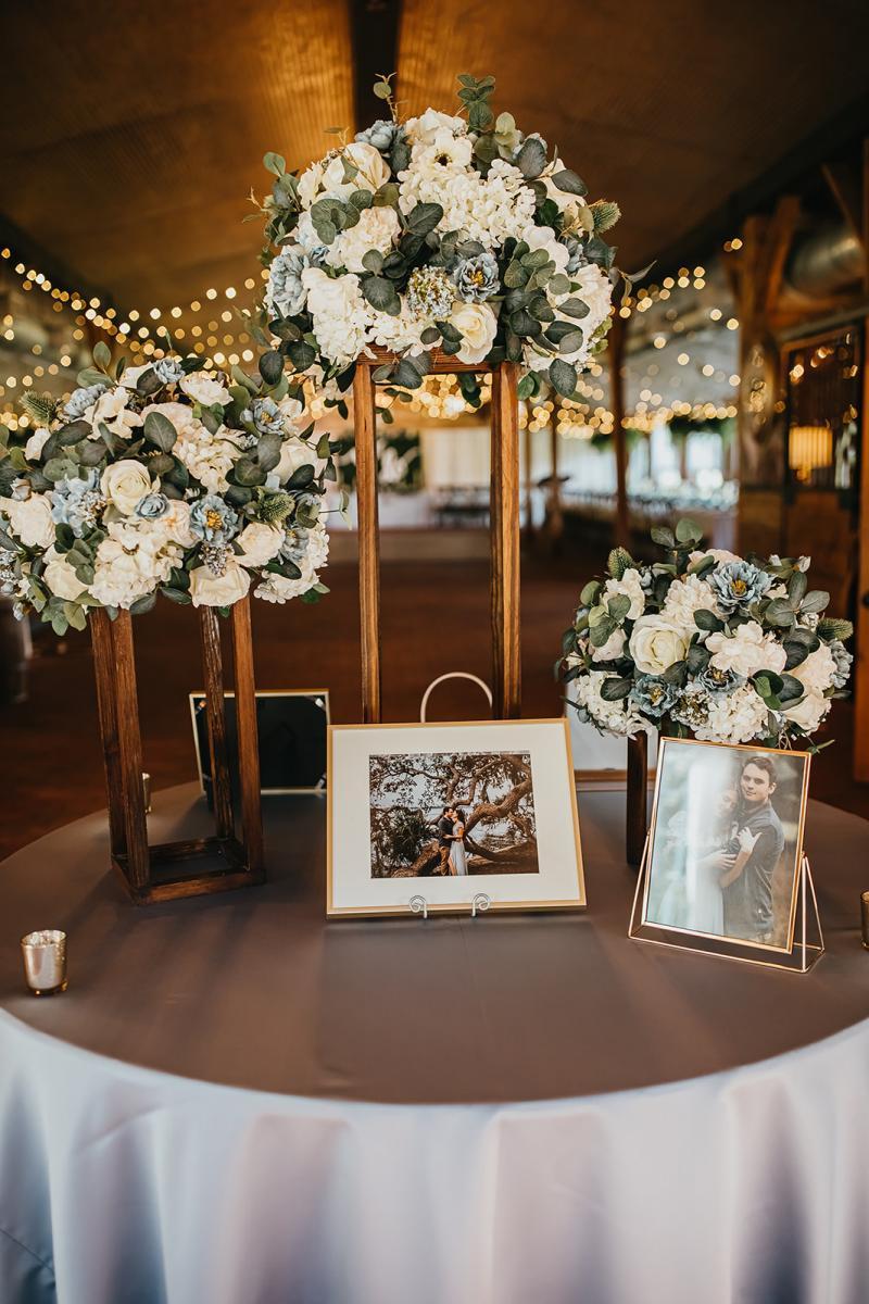 Wedding venue welcome table