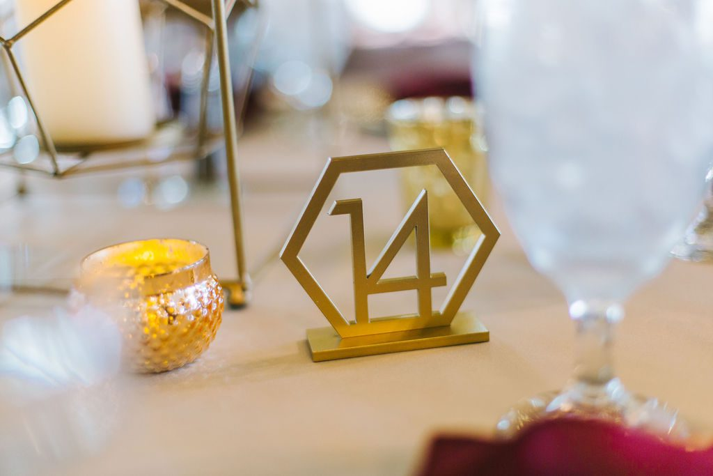 Modern gold geometric table numbers