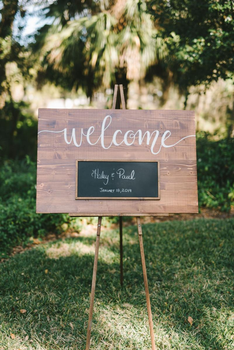 Haley and Paul's welcome sign provided by Cross Creek Ranch