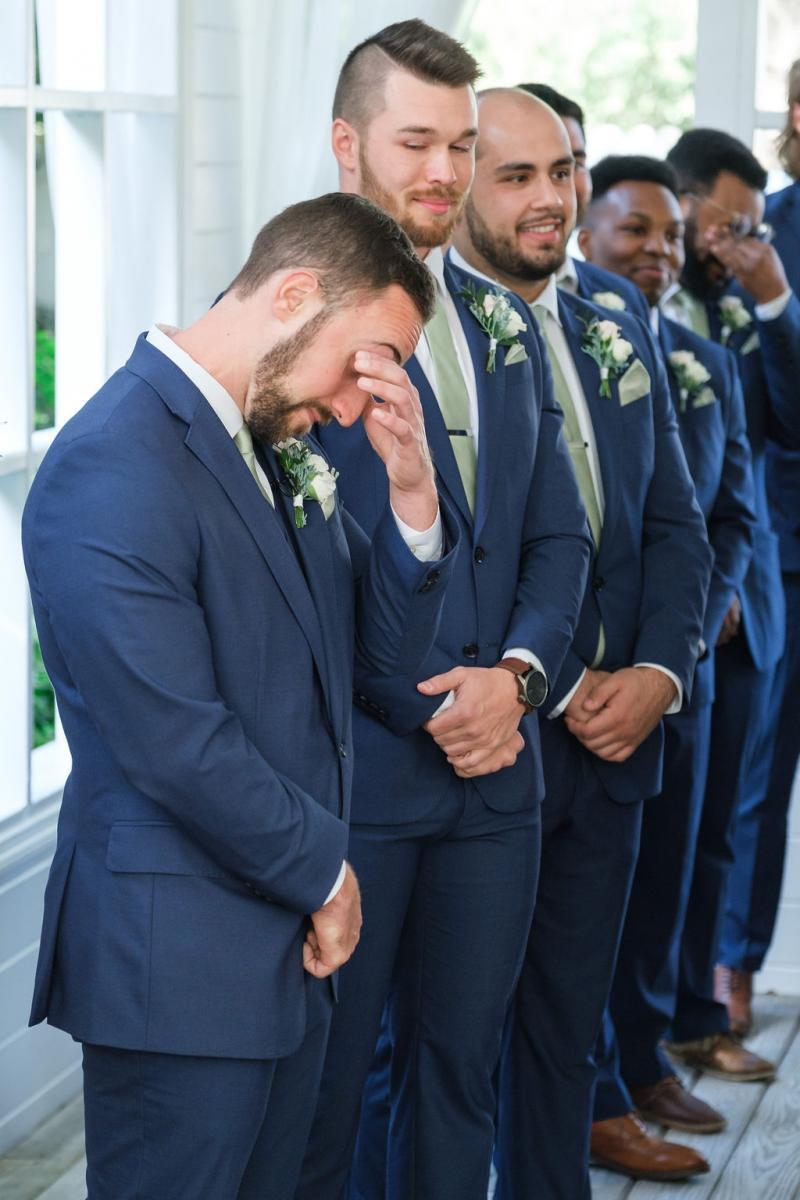 Jimmy seeing his bride walk down the aisle