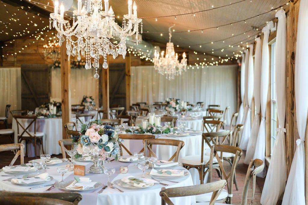 Blush and ivory wedding reception decor