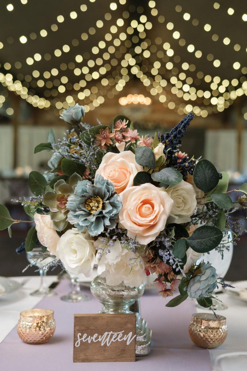Blush, dusty blue and ivory wedding flowers