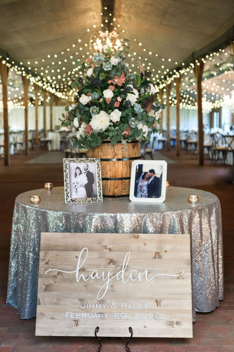 Entrance table at the Carriage House Stable