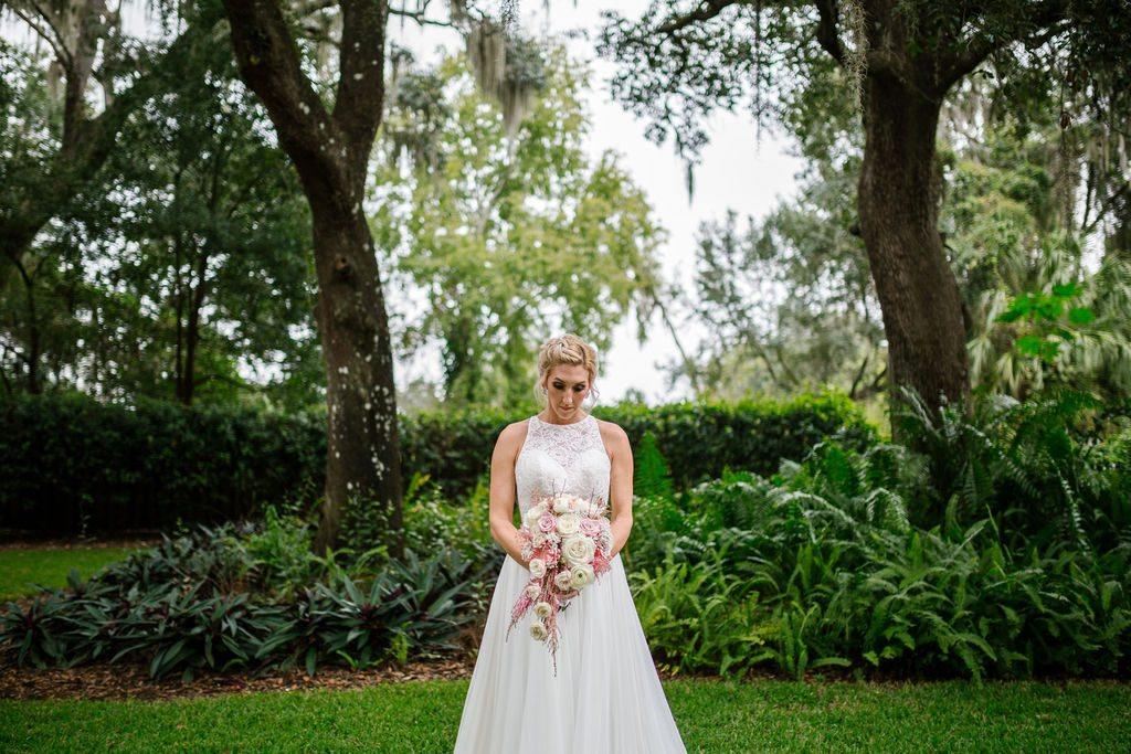 Lindsay in her Mikaella wedding dress from The White Magnolia