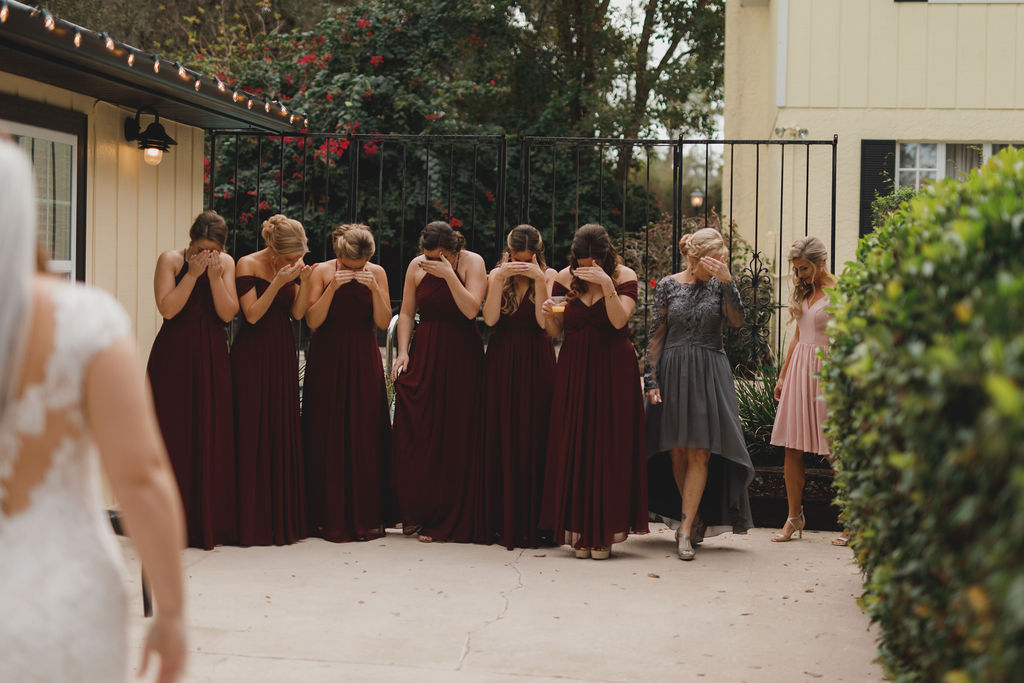 Bridal reveal with the bridesmaids