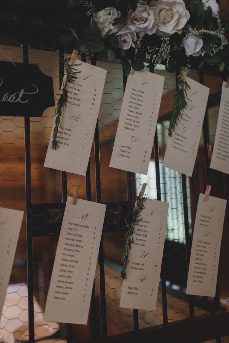 Modern romantic wedding seating chart
