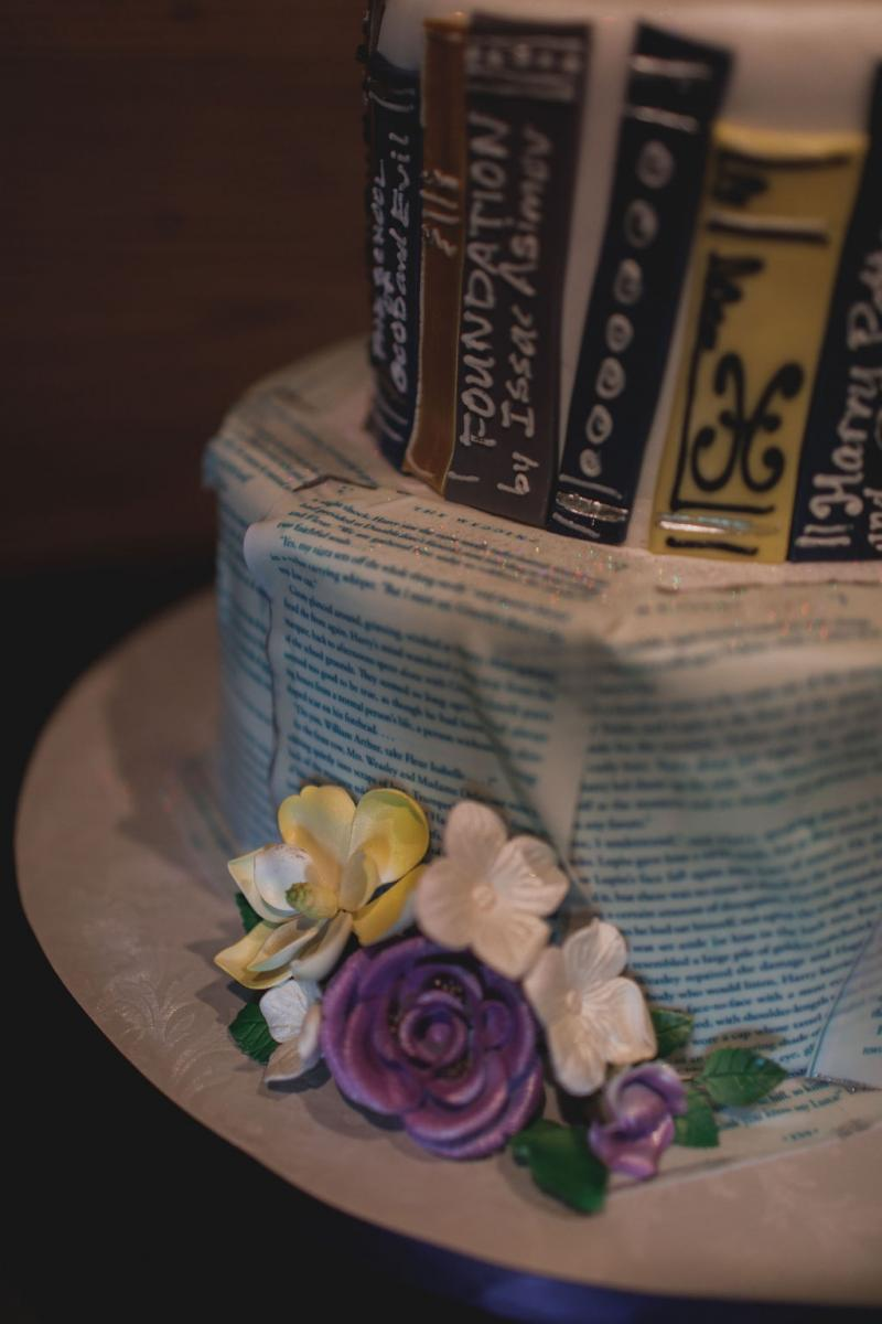 Vintage book inspired wedding cake