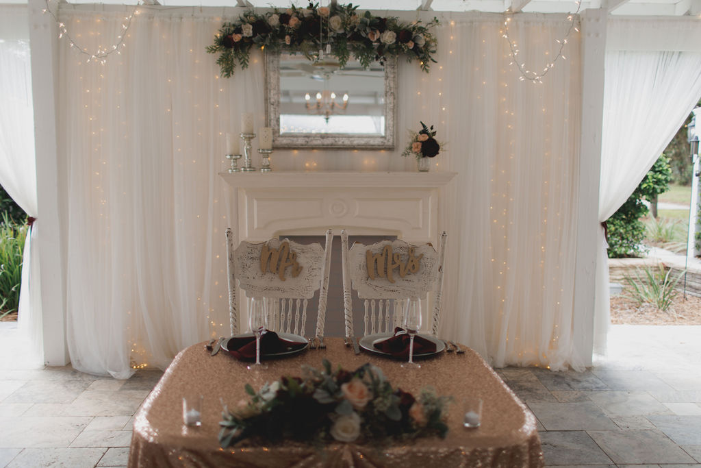 Jennifer and Chad's glam wedding sweetheart table