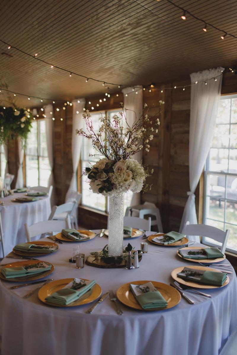 romantic forest inspired wedding centerpiece