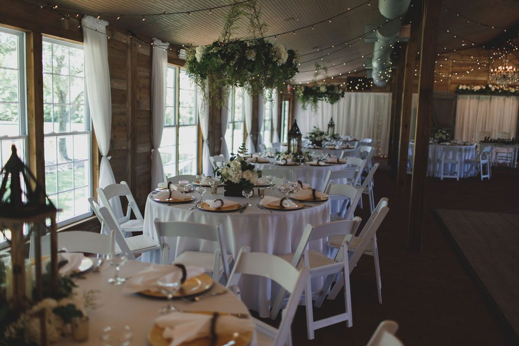 The decorate Carriage House Stable. Nicki and Shannon's reception decor for their elegant family affair
