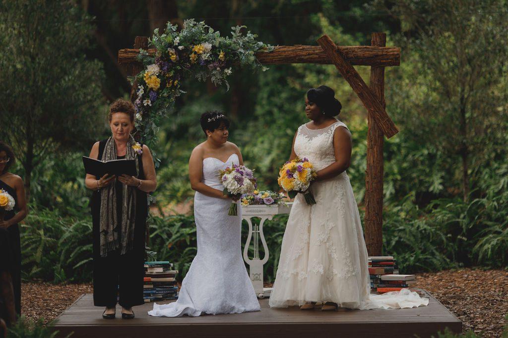 Tori and Lindsay's vintage book-themed wedding