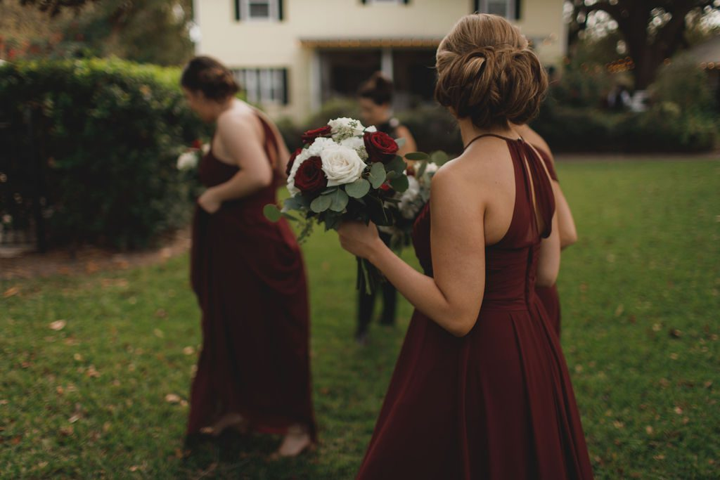 Bridesmaid hair and bouquet