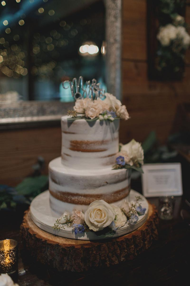 Shelbie and Tony's semi naked wedding cake