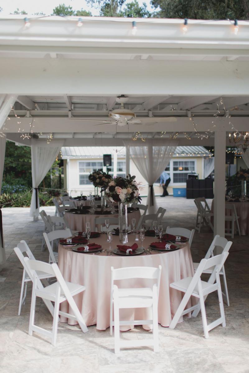 Intimate glam wedding reception decor