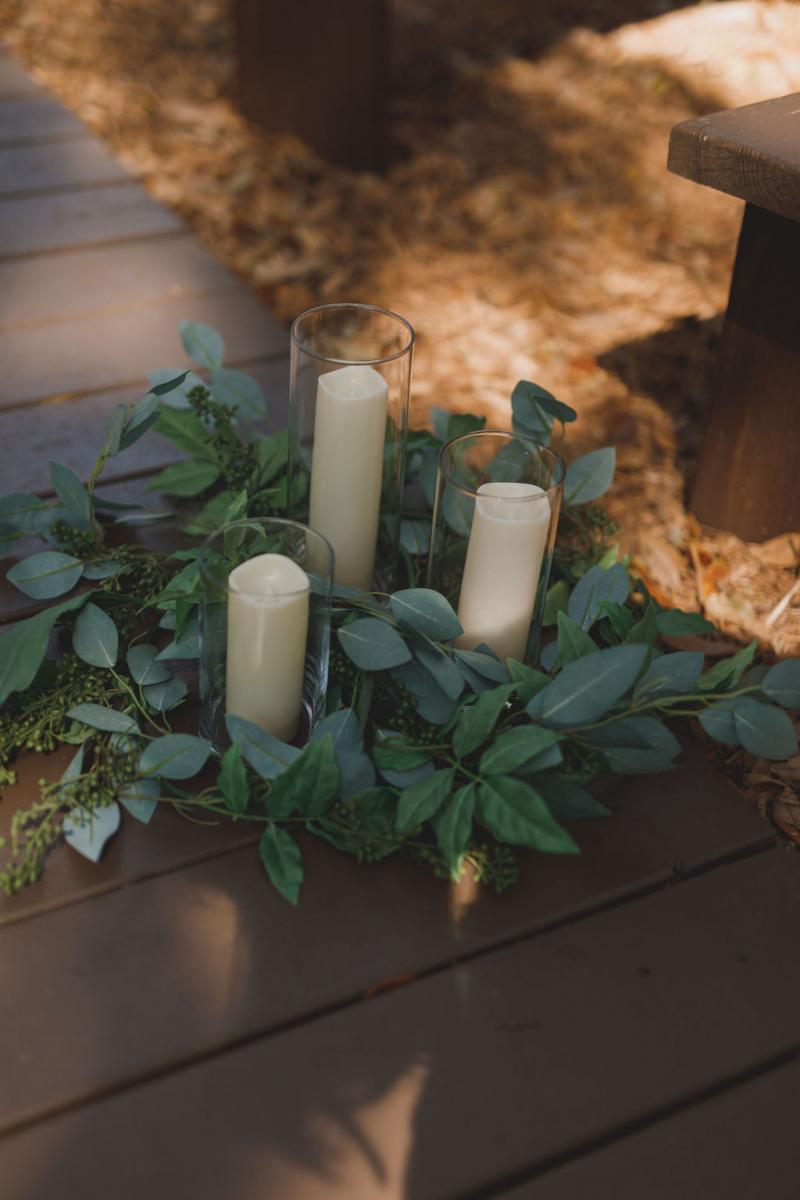 Candle lit ceremony aisle decor