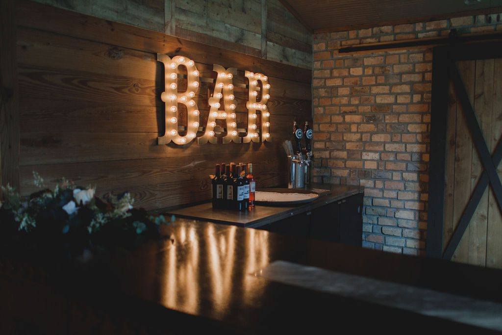Rustic and industrial wedding bar